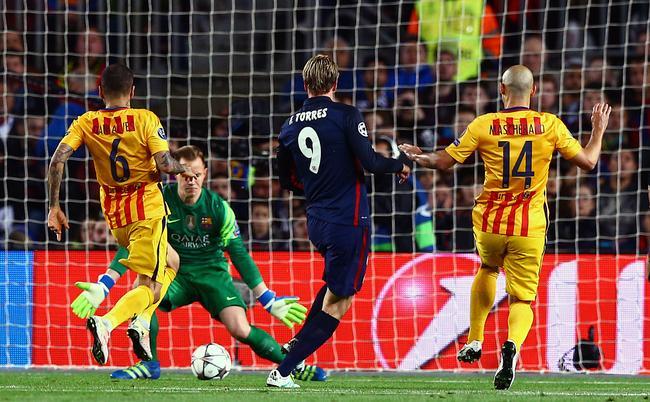 Le match se termine sur une victoire du FC Barcelone sur un score de 2-1.