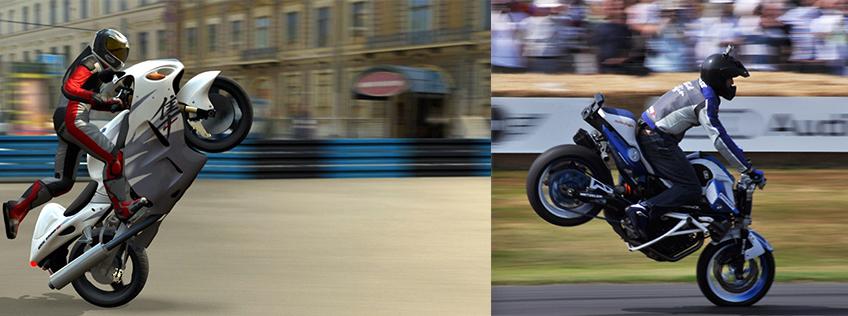 Discipline originale des motards, le stunt est un ensemble de cascades qui consiste à réaliser des figures de voltige sur la roue arrière ou avant d'une moto.